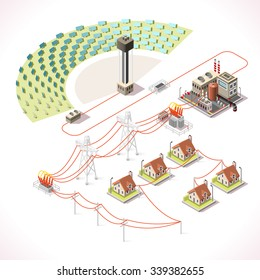 Concentrating Solar Power System Factory CSP Plant Farm Electric Station.Infographic Electricity Grid Supply Chain.Energy Harvesting Saving Management Diagram 3d Vector isolated Isometric Building set