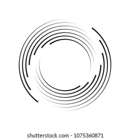 Concentric Circle Elements Backgrounds. Abstract circle pattern. Black and white graphics. EPS