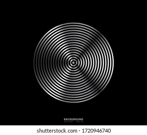Concentric circle. Illustration for sound wave. Abstract circle line pattern. Black and white graphic
