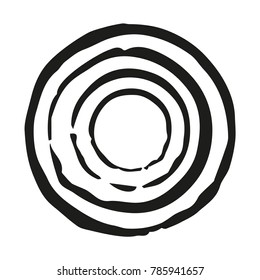 Concentric circle imprints. Black. Handmade. Isolated on white background. Vector illustration. Eps 10