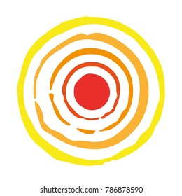 Concentric circle imprints. Colored - yellow, orange, red. Handmade. Isolated on white background. Vector illustration evoking the sun. Eps 10