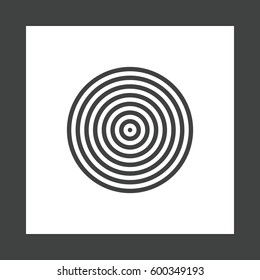 Concentric circles, rings abstract geometric element. Ripple, impact effect