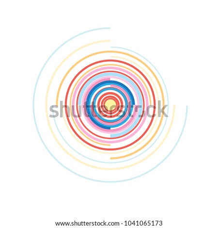 Concentric elements of a circle. Vector illustration for a sound wave. Different color ring. Chain of rotation of the circle.