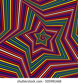 Concentric five-pointed star shapes forming the digital sequence with swirl pseudo 3D effect, abstract vector pattern in many colors