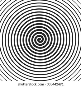 Concentric Lines. Spiral Background. Volute. Hypnosis Circular Rotating Background. Vector Illustration.