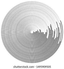 Concentric, radial circles pattern. Radiating, circular spiral, vortex lines. Rays, beams, signal burst design. Merging rippled lines. Converging rings, geometric illustration