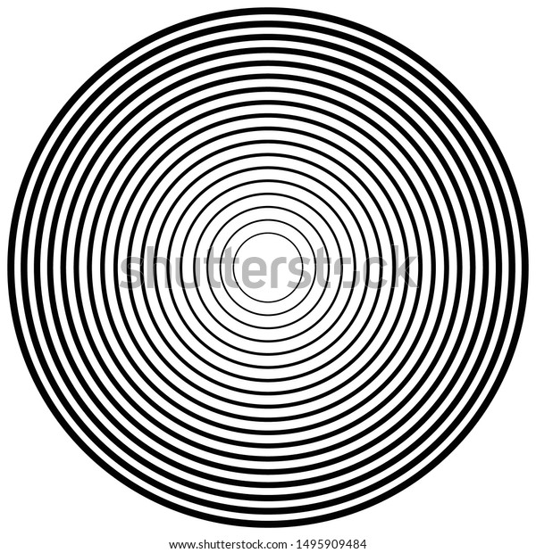 Concentric, radial circles pattern. Radiating, circular spiral, vortex lines. Rays, beams, signal burst design. Merging rippled lines. Converging rings, geometric illustration