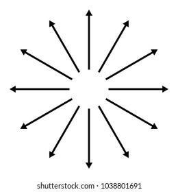 Concentric, radial, radiating arrows. Circular arrow element