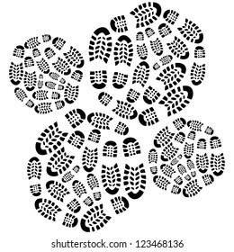 concentric radials of footprints - isolated illustration