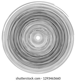 Concentric rings, circles pattern abstract monochrome element, vortex whirlpool vector
