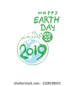 Concept 2019 Happy Earth Day. April 22. Earth Day poster. Round green vector template earth ball with hand drawn lettering isolated on white background.