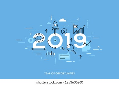 Concept 2019 year of opportunities. New trends and prospects in startups, business development, profit growth strategies. Plans and expectations. Vector illustration in thin line style.