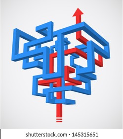 Concept of 3D maze with succesfull strategy
