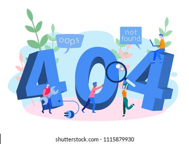 Concept 404 Error Page or File not found for web page, banner, presentation, social media, documents, cards, posters. Website maintenance error, webpage under construction Vector illustration, flat.