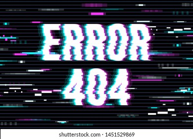 Concept 404 Error Page or File not found for web page, banner, presentation, social media, documents, cards, posters. The glitch background.