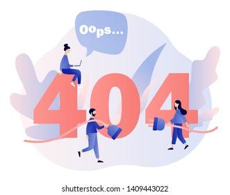 Concept 404 Error Page. Flat cartoon style. Vector illustration