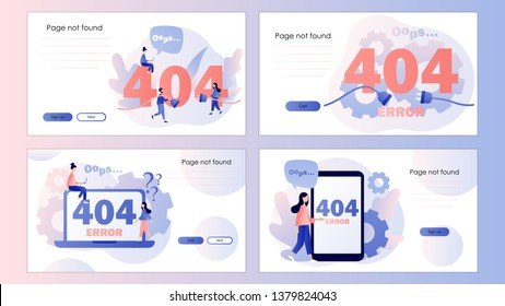 Concept 404 Error Page. Screen template for mobile smart phone, landing page, template, ui, web, mobile app, poster, banner, flyer. Flat style. Vector illustration