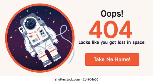 The concept of 404 error web page with astronaut in the open space between different planets, comets, stars and space ships. Very good idea. Perfect for sites under constructions. Vector. Flat.