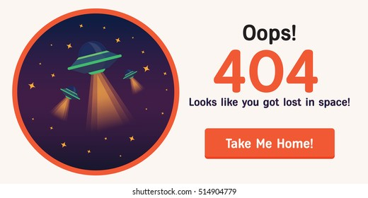 The concept of 404 error web page with astronaut in the open space between different plsnets, comets, stars and space ships. Very good idea. Perfect for sites under constructions. Vector. Flat.