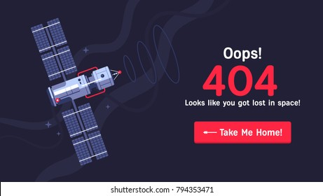 The concept of 404 error web page with satellite in the open space between different palnets, comets, stars and space ships. Very good idea. Perfect for sites under constructions. Vector. Flat.