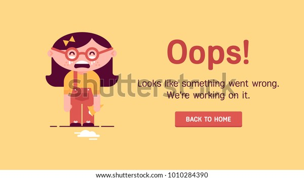 The concept of 404 error web page with crying littlr gir with falled ice cream. Flat design character.  Very good idea. Perfect for sites under constructions. Vector. Flat.