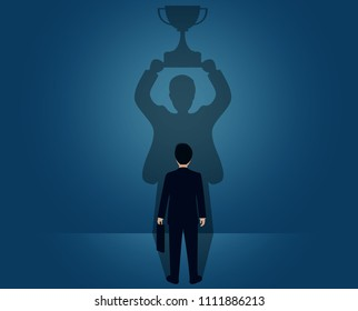 concept about hidden potential of businessmen in the room which cast a shadow on the wall. hidden achievement. creative idea. vector illustration