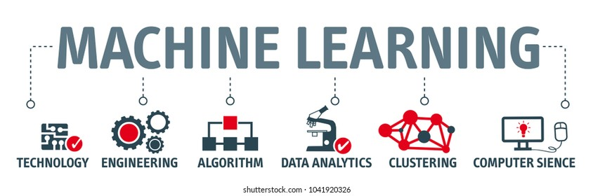 concept about machine learning vector illustration with keywords and icons