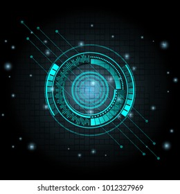 The concept abstract geometric elements with shapes. Circle, Lines and Dots on dark blue Background. Circuit boards elements Vector illustration for your business presentations.