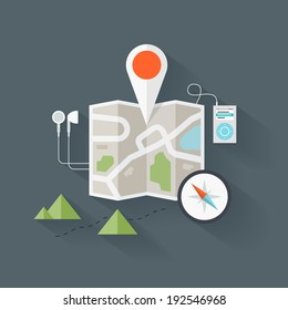 Concept of abstract street map with navigational elements and symbol. Flat design style modern vector illustration. Isolated on stylish background.