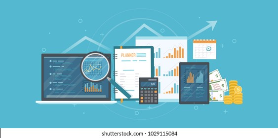 Concept of accounting, analysis, audit, calculation. Auditing tax process. Business background. Laptop with graphics, charts, documents, planner, calendar, magnifying glass, calculator, money. Vector