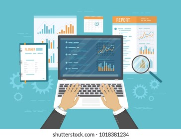 Concept of accounting, analysis, audit, financial report. Auditing tax process. Business background. Hands with laptop, documents, graphics, charts, planner, calendar, magnifying glass, report. Vector