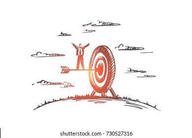 Concept: achieve, target, champion, winner, leader. Hand drawn arrow hitting in the target center of dartboard. Success businessman isolated vector illustration.