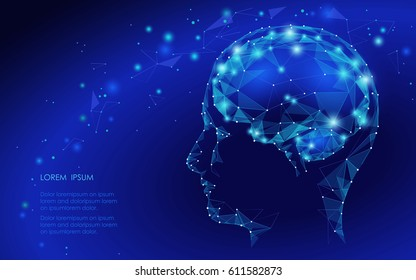 Concept of Active Human Brain with Binary Code Stream. Human Brain Covered with fall of Binary Numbers. Technology Low Poly Design of Human Brain. Brain with Binary Digits. Symbol of Wisdom