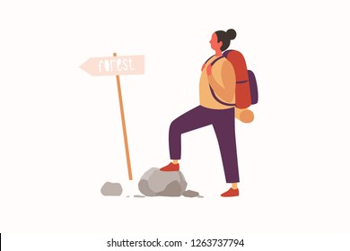 Concept of an active lifestyle, tourism. A young girl with a backpack on her back is looking at a signpost on a tourist trail. Vector illustration.