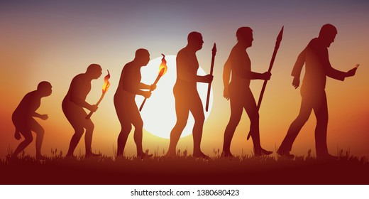 Concept of the addiction to the smartphone and the social networks with the symbol of Darwin showing the evolution of the primitive man towards the modern man, who advances while looking at his screen
