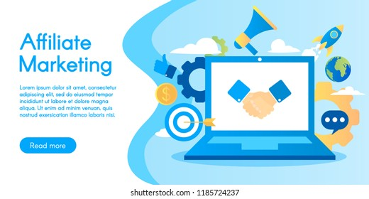 Concept of affiliate marketing vector business illustration in flat design.