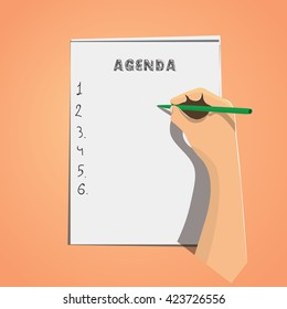 Concept of agenda list with flat businessman hand writing tasks on the paper. Stock vector