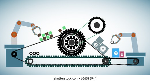 Concept of Agile software development methodology, represents through cogwheels connected with cog belt