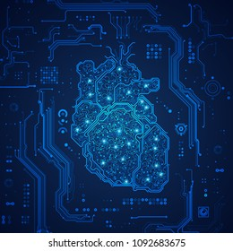 concept of AI technology, graphic of shape of heart combined with circuit board with digital futuristic background