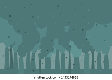 Concept of air pollution. Factory pipes emitting smoke. Fine dust, air pollution, industrial smog, pollutant gas emission. Vector illustration.
