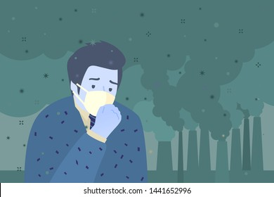 Concept of air pollution. Sad man wearing protective face masks. Factory pipes emitting smoke on background. Fine dust, air pollution, industrial smog, pollutant gas emission. Vector illustration.