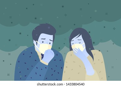 Concept of air pollution. Sad people wearing protective face masks. Factory pipes emitting smoke on background. Fine dust, air pollution, industrial smog, pollutant gas emission. Vector illustration.