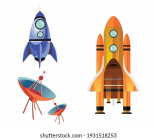 Concept of Air Space ship equipment vector illustration design