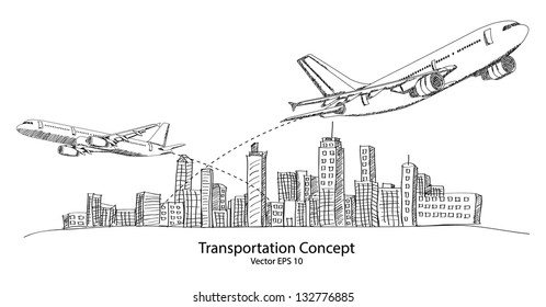 Concept of Airplane, Air Craft Shipping Around the World for Transportation Concept Sketched Up outline, Vector Illustration EPS 10.