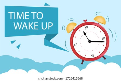 The concept of an alarm clock wakes up from sleep. Banner Time to wake up. Clock over clouds of sleep. Vector illustration on blue background in flat style.