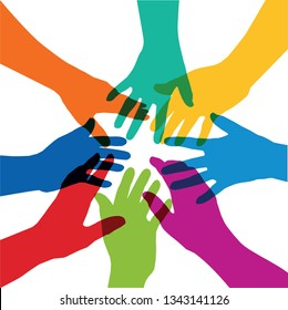 Concept of the alliance of a group, with eight hands of different colors that are stretched in the shape of a star, to symbolize the cohesion of a team.