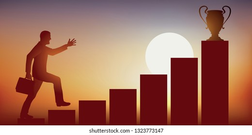 Concept of ambition and the conquest of power, with the ascent of a businessman who climbs a staircase running, to reach the coveted place of leader, symbolized by a trophy.