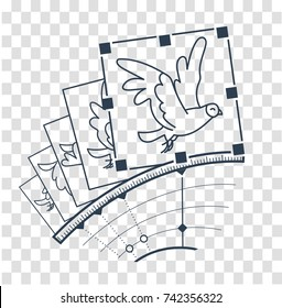 concept animation, hand drawn video  in the form of the program interface elements and the bird animation with the download button. Icon, silhouette in the linear style