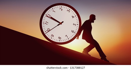 Concept of the anxiety of passing time, with a man who tries to stop time, symbolized by a clock that pushes him on a slope, to a fatal outcome.