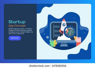 Concept of app development, Software, startup marketing, business, coding, application - flat design vector landing page for website and blog